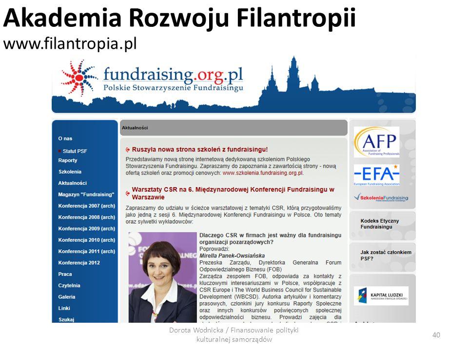 Dorota Wodnicka / Finansowanie polityki kulturalnej samorządów 40 Akademia Rozwoju Filantropii www.filantropia.pl