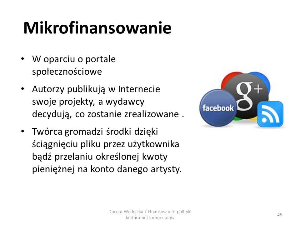 Mikrofinansowanie W oparciu o portale społecznościowe Autorzy publikują w Internecie swoje projekty, a wydawcy decydują, co zostanie zrealizowane. Twó