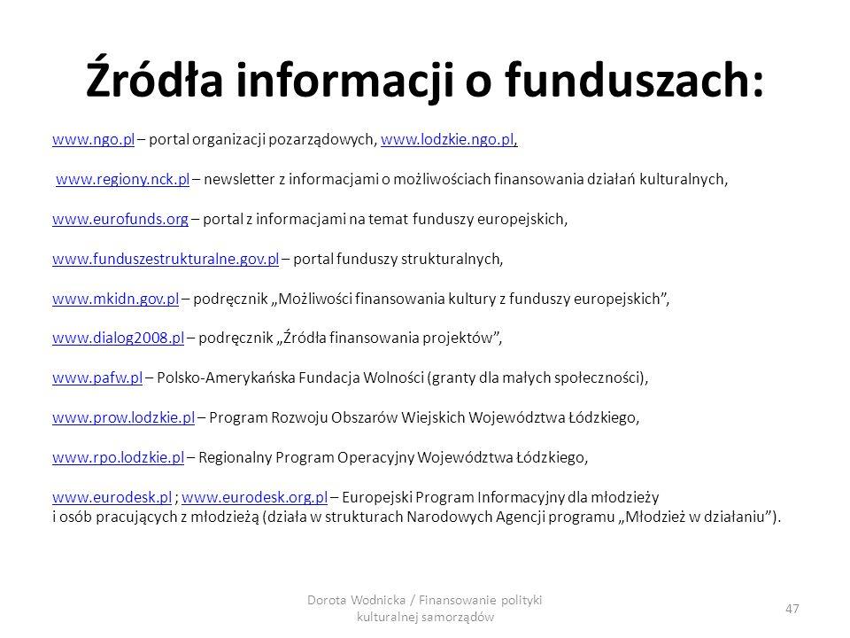 Źródła informacji o funduszach: www.ngo.plwww.ngo.pl – portal organizacji pozarządowych, www.lodzkie.ngo.pl,www.lodzkie.ngo.pl www.regiony.nck.pl – ne
