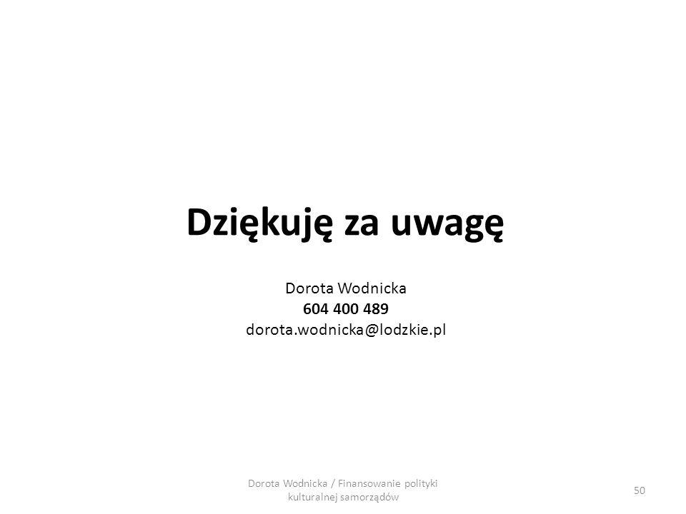 Dorota Wodnicka / Finansowanie polityki kulturalnej samorządów Dziękuję za uwagę 50 Dorota Wodnicka 604 400 489 dorota.wodnicka@lodzkie.pl