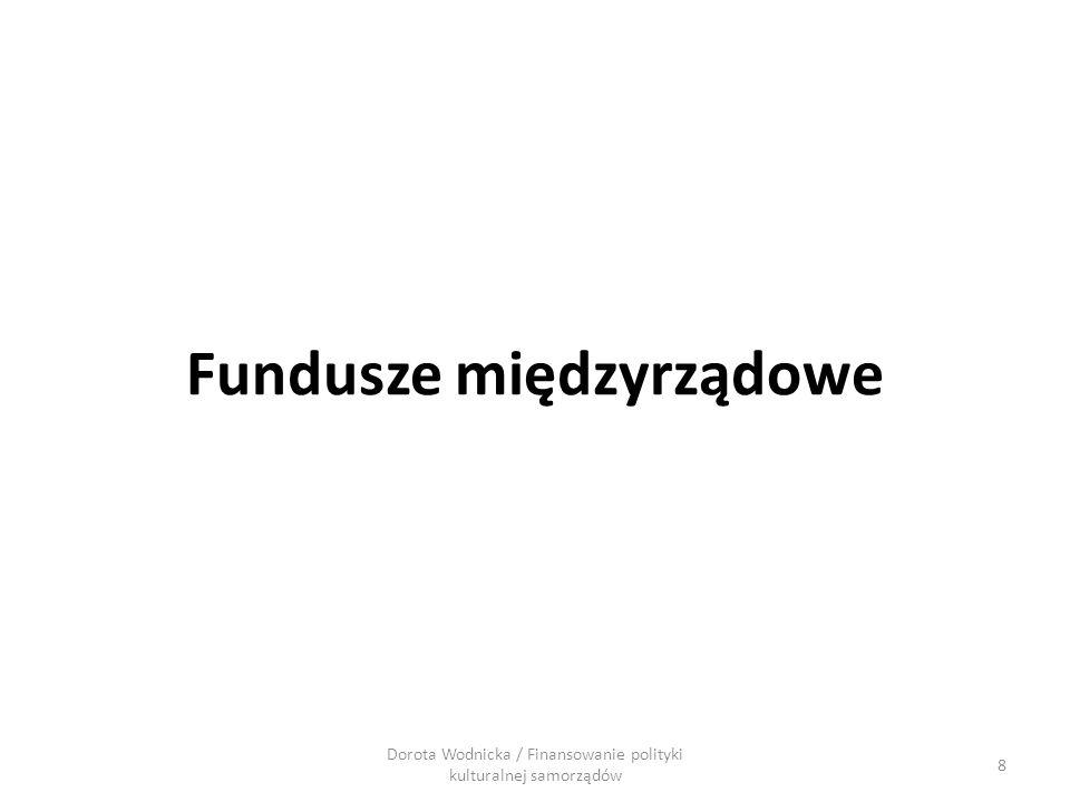 Fundusze międzyrządowe Dorota Wodnicka / Finansowanie polityki kulturalnej samorządów 8
