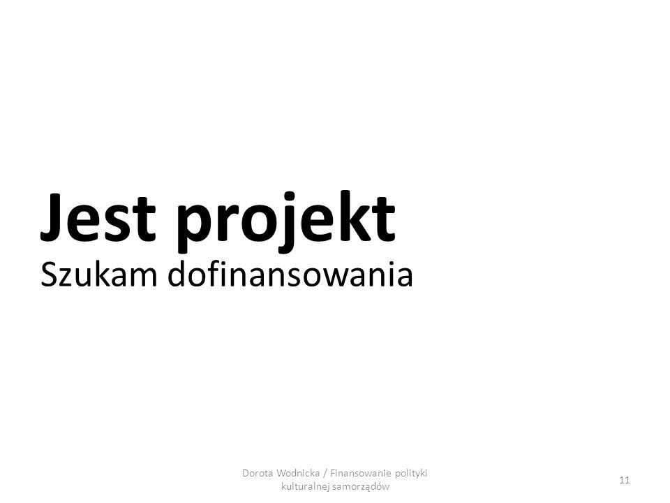 Dorota Wodnicka / Finansowanie polityki kulturalnej samorządów 11 Jest projekt Szukam dofinansowania