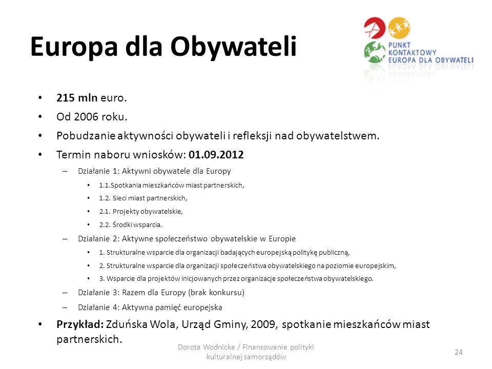 Europa dla Obywateli 215 mln euro. Od 2006 roku. Pobudzanie aktywności obywateli i refleksji nad obywatelstwem. Termin naboru wniosków: 01.09.2012 – D