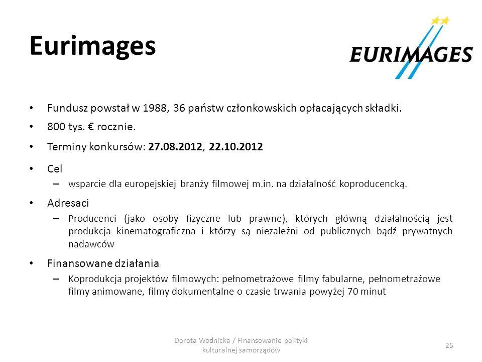Eurimages Fundusz powstał w 1988, 36 państw członkowskich opłacających składki. 800 tys. rocznie. Terminy konkursów: 27.08.2012, 22.10.2012 Cel – wspa