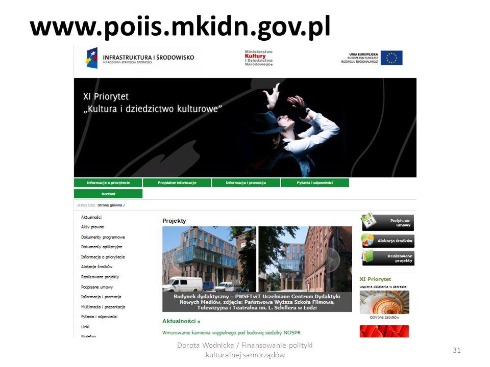 www.poiis.mkidn.gov.pl 31 Dorota Wodnicka / Finansowanie polityki kulturalnej samorządów