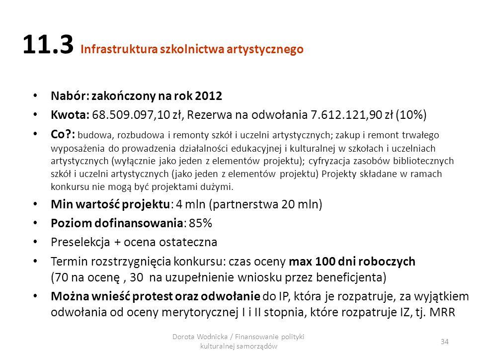 11.3 Infrastruktura szkolnictwa artystycznego Nabór: zakończony na rok 2012 Kwota: 68.509.097,10 zł, Rezerwa na odwołania 7.612.121,90 zł (10%) Co?: b