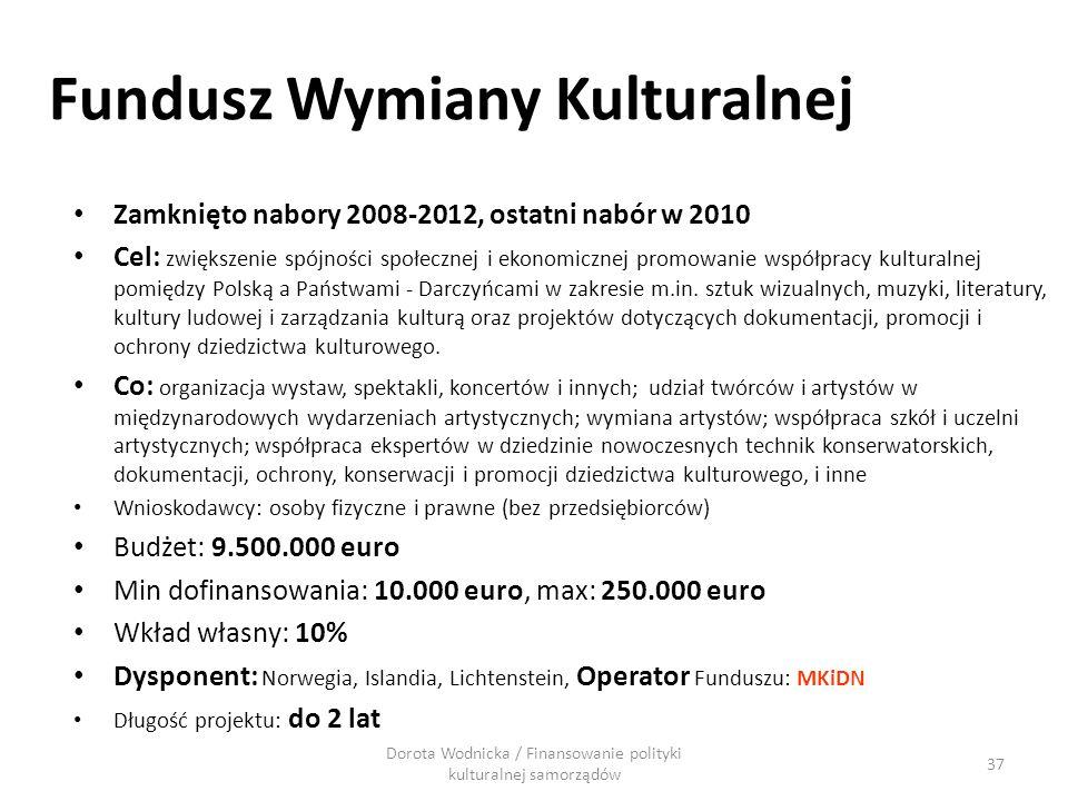 Fundusz Wymiany Kulturalnej Zamknięto nabory 2008-2012, ostatni nabór w 2010 Cel: zwiększenie spójności społecznej i ekonomicznej promowanie współprac
