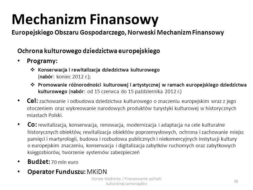 Mechanizm Finansowy Europejskiego Obszaru Gospodarczego, Norweski Mechanizm Finansowy Ochrona kulturowego dziedzictwa europejskiego Programy: Konserwa