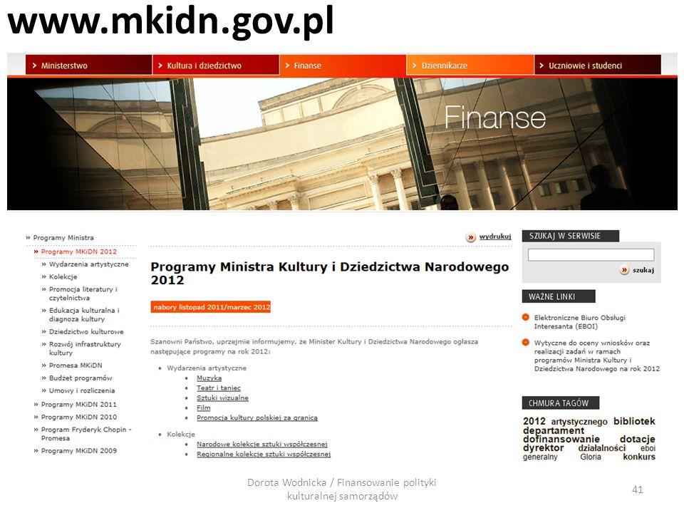 www.mkidn.gov.pl 41 Dorota Wodnicka / Finansowanie polityki kulturalnej samorządów