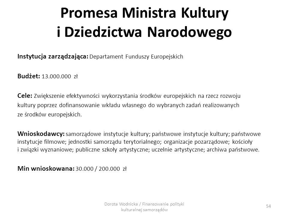 Promesa Ministra Kultury i Dziedzictwa Narodowego Instytucja zarządzająca: Departament Funduszy Europejskich Budżet: 13.000.000 zł Cele: Zwiększenie e