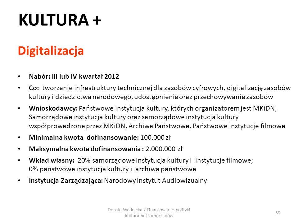 KULTURA + Digitalizacja Nabór: III lub IV kwartał 2012 Co: tworzenie infrastruktury technicznej dla zasobów cyfrowych, digitalizację zasobów kultury i