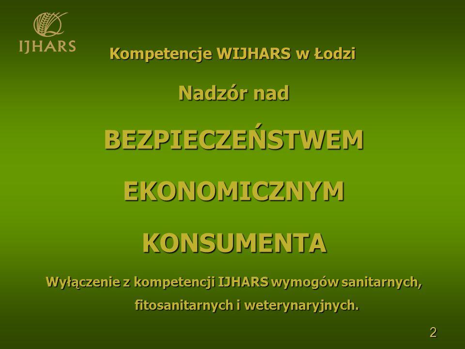 2 Kompetencje WIJHARS w Łodzi Nadzór nad BEZPIECZEŃSTWEMEKONOMICZNYMKONSUMENTA Wyłączenie z kompetencji IJHARS wymogów sanitarnych, fitosanitarnych i