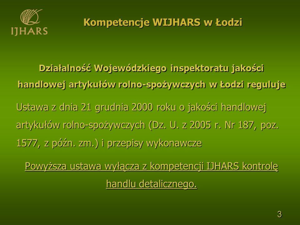 Działalność Wojewódzkiego inspektoratu jakości handlowej artykułów rolno-spożywczych w Łodzi reguluje Ustawa z dnia 21 grudnia 2000 roku o jakości han