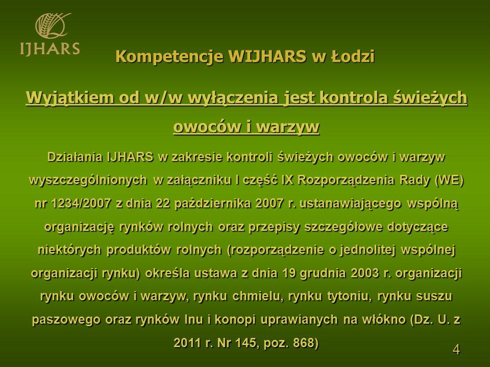 5 Świeże owoce i warzywa są kontrolowane przez IJHARS na etapie produkcji oraz na wszystkich etapach wprowadzania do obrotu (w tym na targowiskach) Kompetencje WIJHARS w Łodzi