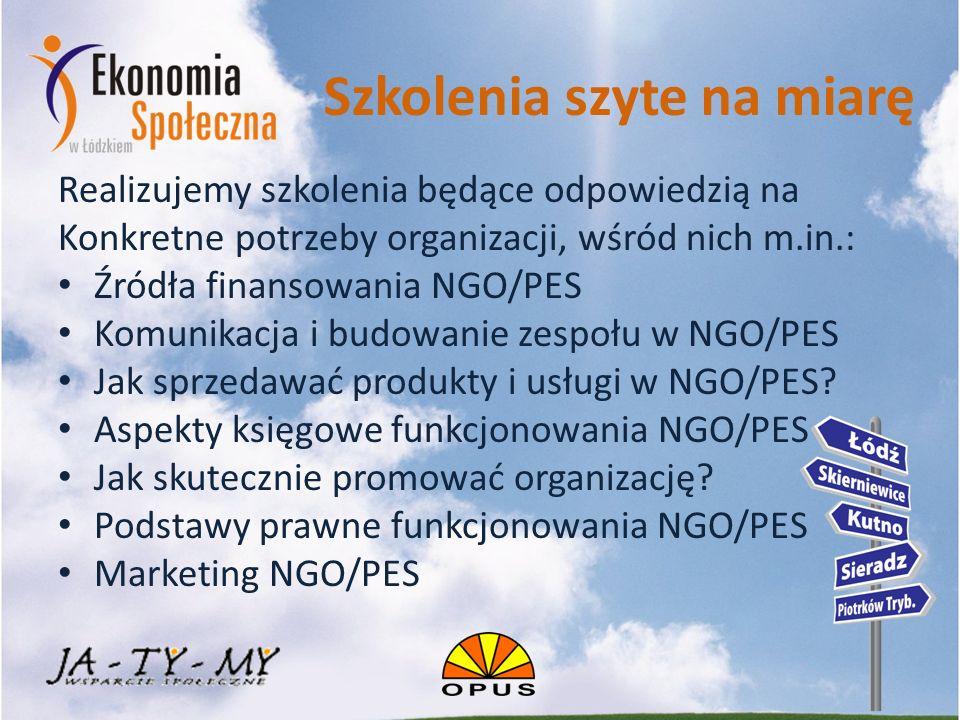 Szkolenia szyte na miarę Realizujemy szkolenia będące odpowiedzią na Konkretne potrzeby organizacji, wśród nich m.in.: Źródła finansowania NGO/PES Komunikacja i budowanie zespołu w NGO/PES Jak sprzedawać produkty i usługi w NGO/PES.