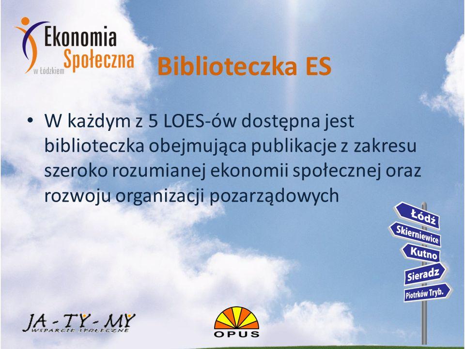 Biblioteczka ES W każdym z 5 LOES-ów dostępna jest biblioteczka obejmująca publikacje z zakresu szeroko rozumianej ekonomii społecznej oraz rozwoju organizacji pozarządowych