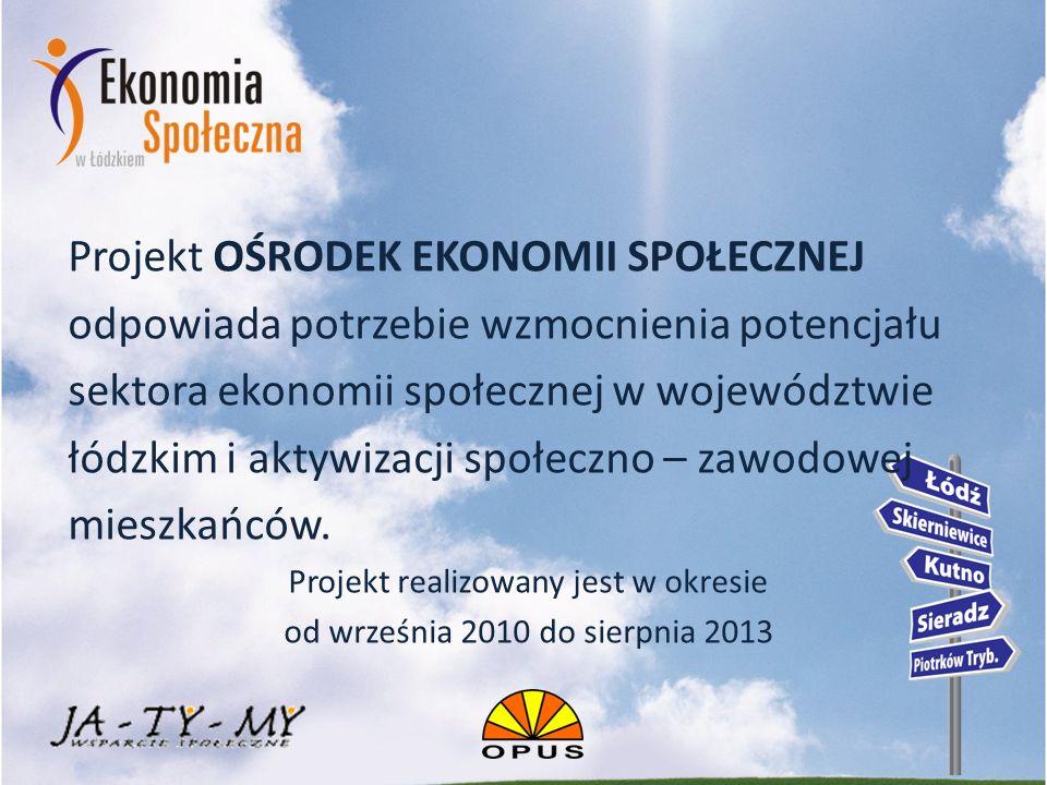 Celem głównym projektu jest: zapewnienie wsparcia dla podmiotów ekonomii społecznej w województwie łódzkim przez utworzenie instytucji otoczenia sektora ekonomii społecznej LOKALNYCH OŚRODKÓW EKONOMII SPOŁECZNEJ (LOES) w 5 punktach: Łodzi, Piotrkowie Trybunalskim, Sieradzu, Skierniewicach oraz Kutnie