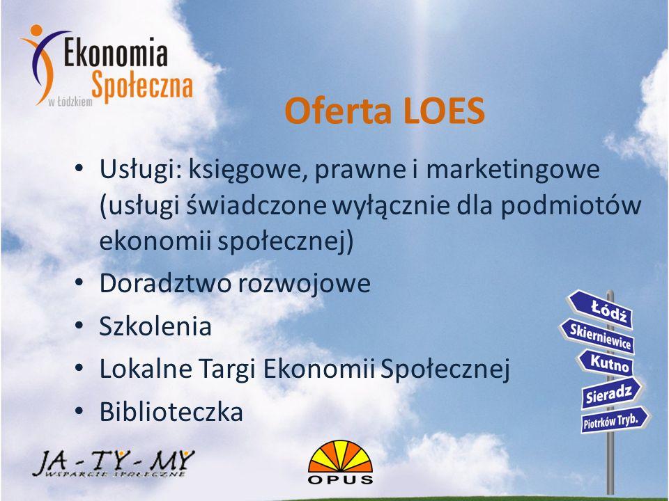 Oferta LOES Usługi: księgowe, prawne i marketingowe (usługi świadczone wyłącznie dla podmiotów ekonomii społecznej) Doradztwo rozwojowe Szkolenia Lokalne Targi Ekonomii Społecznej Biblioteczka