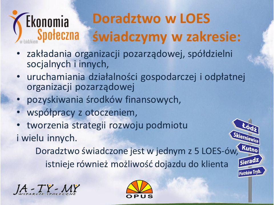 Doradztwo w LOES świadczymy w zakresie: zakładania organizacji pozarządowej, spółdzielni socjalnych i innych, uruchamiania działalności gospodarczej i odpłatnej organizacji pozarządowej pozyskiwania środków finansowych, współpracy z otoczeniem, tworzenia strategii rozwoju podmiotu i wielu innych.