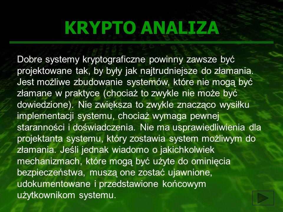KRYPTO ANALIZA Dobre systemy kryptograficzne powinny zawsze być projektowane tak, by były jak najtrudniejsze do złamania. Jest możliwe zbudowanie syst