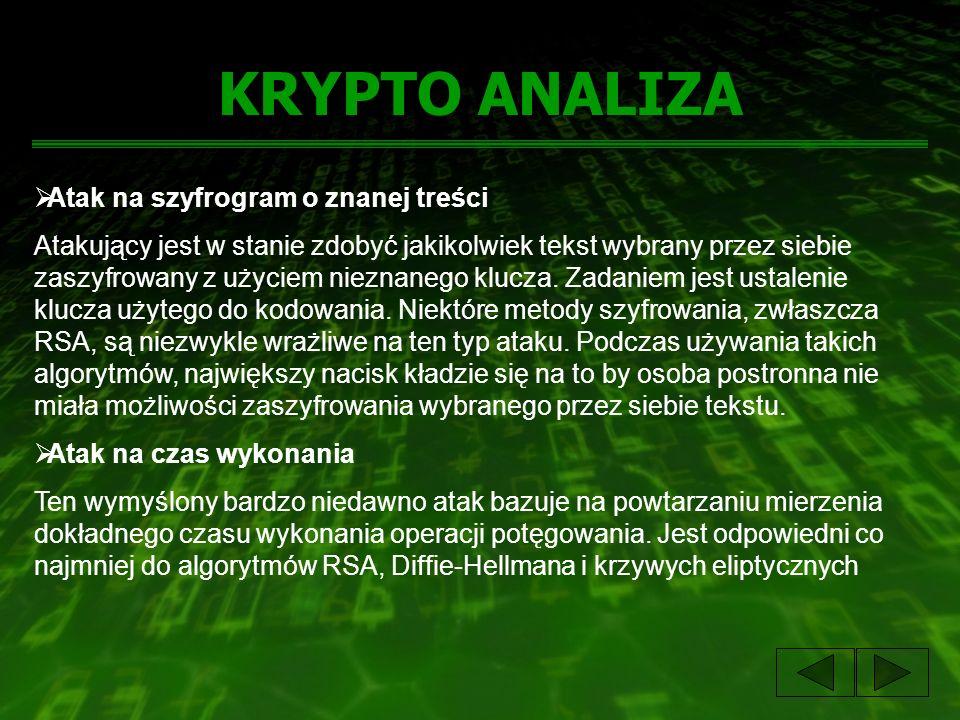 KRYPTO ANALIZA Atak na szyfrogram o znanej treści Atakujący jest w stanie zdobyć jakikolwiek tekst wybrany przez siebie zaszyfrowany z użyciem nieznan