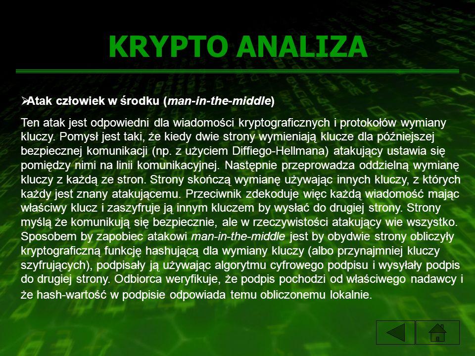 KRYPTO ANALIZA Atak człowiek w środku (man-in-the-middle) Ten atak jest odpowiedni dla wiadomości kryptograficznych i protokołów wymiany kluczy. Pomys