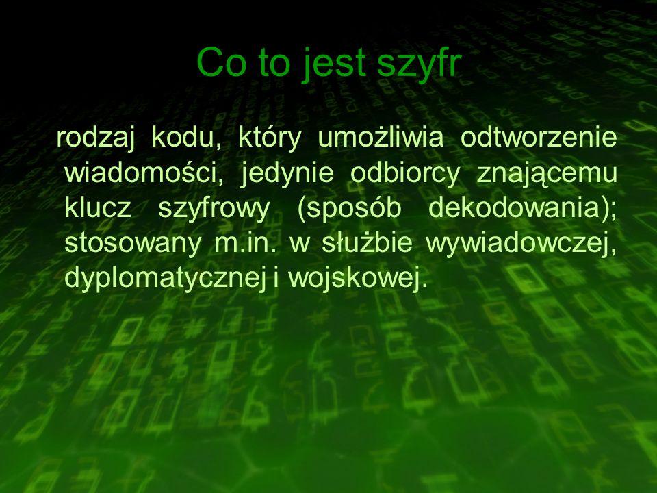 Co to jest szyfr rodzaj kodu, który umożliwia odtworzenie wiadomości, jedynie odbiorcy znającemu klucz szyfrowy (sposób dekodowania); stosowany m.in.
