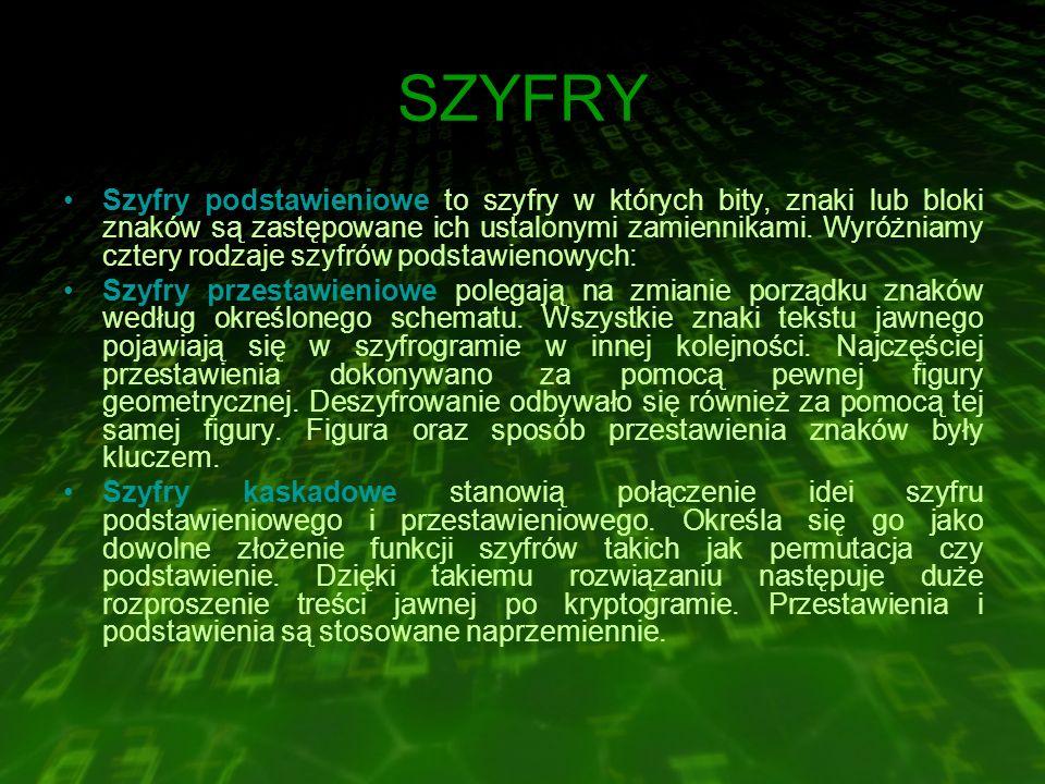 SZYFRY Szyfry podstawieniowe to szyfry w których bity, znaki lub bloki znaków są zastępowane ich ustalonymi zamiennikami.
