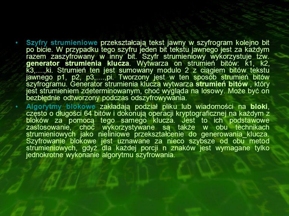 Szyfry strumieniowe przekształcają tekst jawny w szyfrogram kolejno bit po bicie.