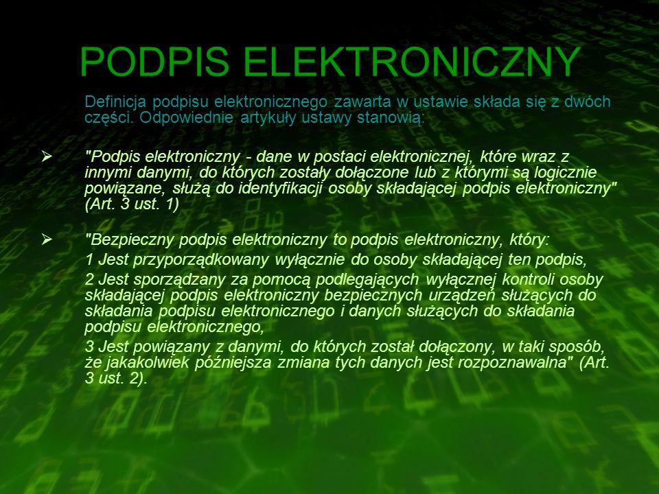 PODPIS ELEKTRONICZNY Definicja podpisu elektronicznego zawarta w ustawie składa się z dwóch części.