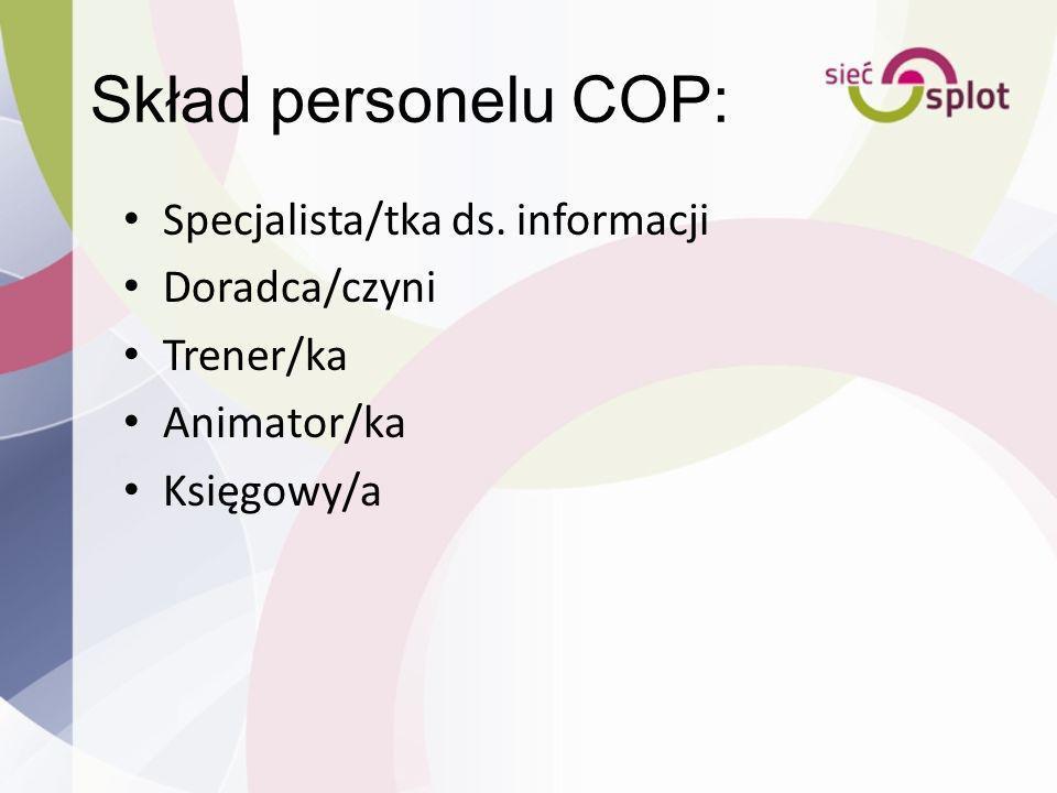 Skład personelu COP: Specjalista/tka ds. informacji Doradca/czyni Trener/ka Animator/ka Księgowy/a