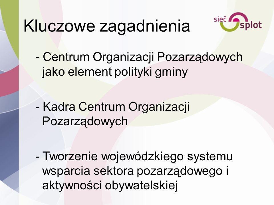 Kluczowe zagadnienia - Centrum Organizacji Pozarządowych jako element polityki gminy - Kadra Centrum Organizacji Pozarządowych - Tworzenie wojewódzkie