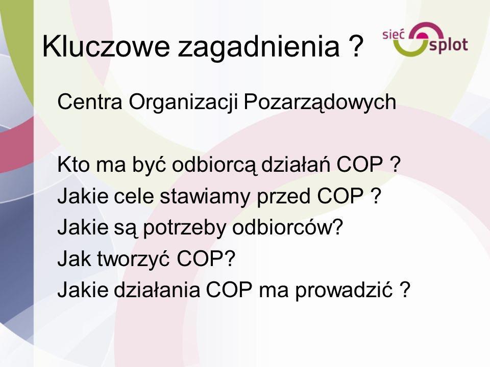 Kluczowe zagadnienia ? Centra Organizacji Pozarządowych Kto ma być odbiorcą działań COP ? Jakie cele stawiamy przed COP ? Jakie są potrzeby odbiorców?