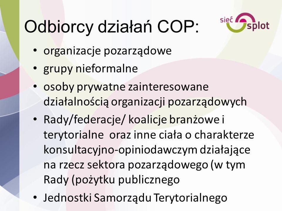 Odbiorcy działań COP: organizacje pozarządowe grupy nieformalne osoby prywatne zainteresowane działalnością organizacji pozarządowych Rady/federacje/