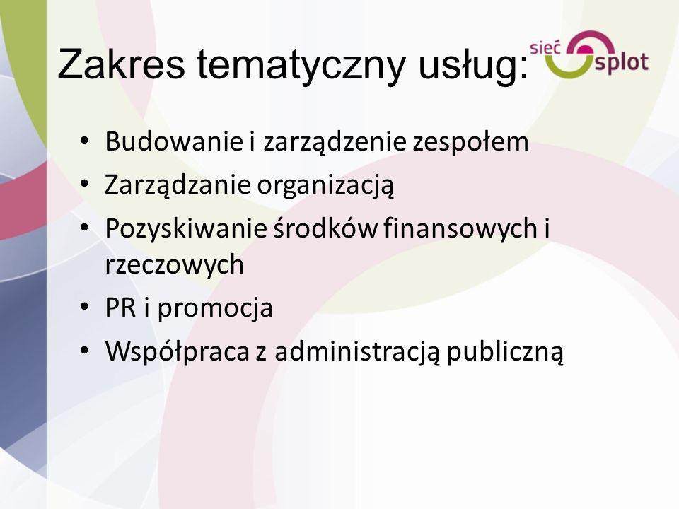 Zakres tematyczny usług: Budowanie i zarządzenie zespołem Zarządzanie organizacją Pozyskiwanie środków finansowych i rzeczowych PR i promocja Współpra