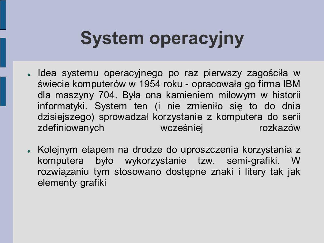 System operacyjny Idea systemu operacyjnego po raz pierwszy zagościła w świecie komputerów w 1954 roku - opracowała go firma IBM dla maszyny 704. Była