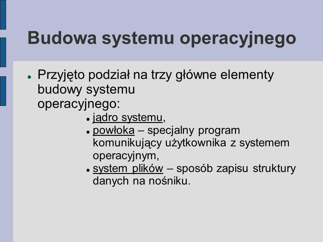 Budowa systemu operacyjnego Przyjęto podział na trzy główne elementy budowy systemu operacyjnego: jądro systemu, powłoka – specjalny program komunikuj