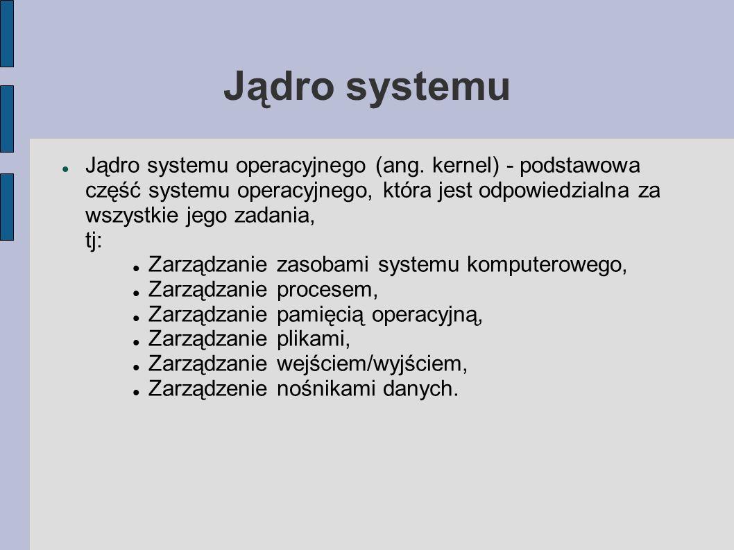Jądro systemu Jądro systemu operacyjnego (ang. kernel) - podstawowa część systemu operacyjnego, która jest odpowiedzialna za wszystkie jego zadania, t