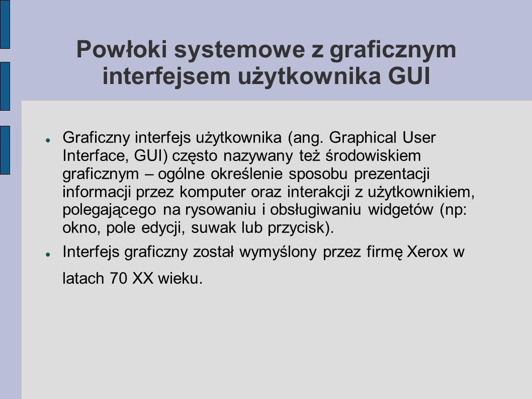 Powłoki systemowe z graficznym interfejsem użytkownika GUI Graficzny interfejs użytkownika (ang. Graphical User Interface, GUI) często nazywany też śr