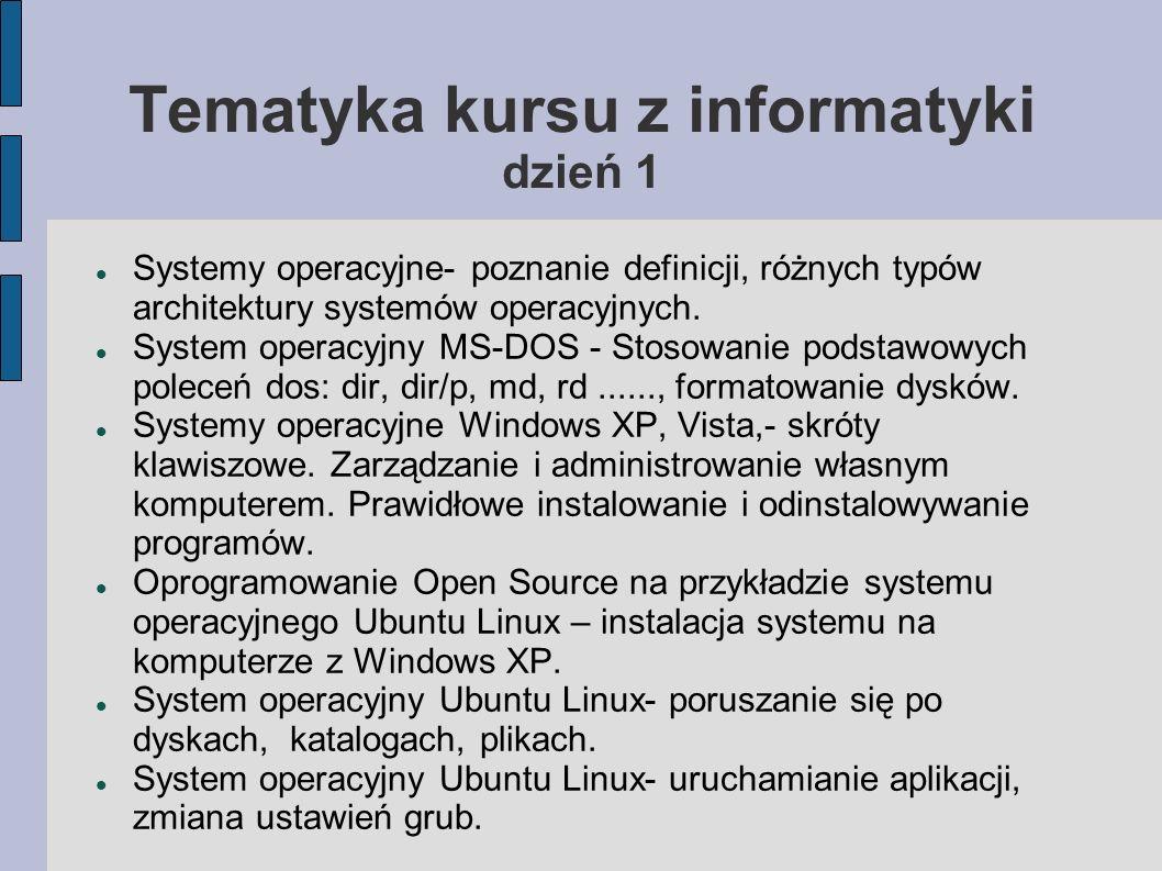 Tematyka kursu z informatyki dzień 1 Systemy operacyjne- poznanie definicji, różnych typów architektury systemów operacyjnych. System operacyjny MS-DO