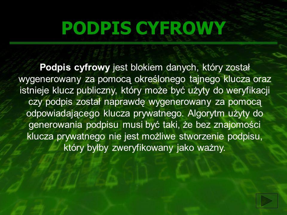 PODPIS CYFROWY Podpis cyfrowy jest blokiem danych, który został wygenerowany za pomocą określonego tajnego klucza oraz istnieje klucz publiczny, który