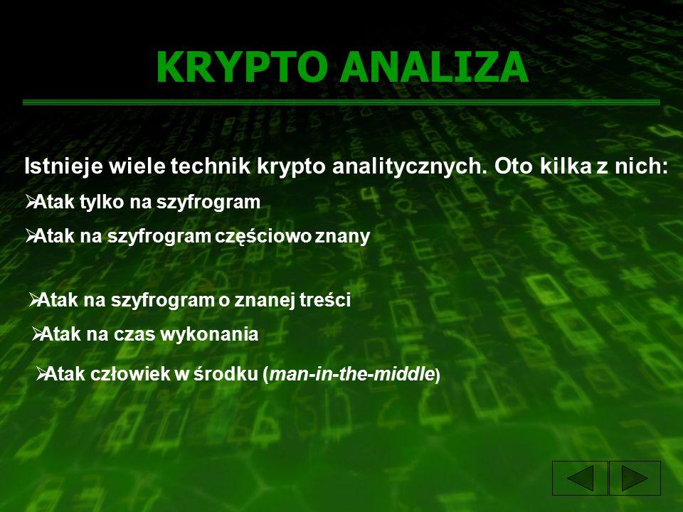 KRYPTO ANALIZA Istnieje wiele technik krypto analitycznych. Oto kilka z nich: Atak tylko na szyfrogram Atak na szyfrogram częściowo znany Atak na szyf