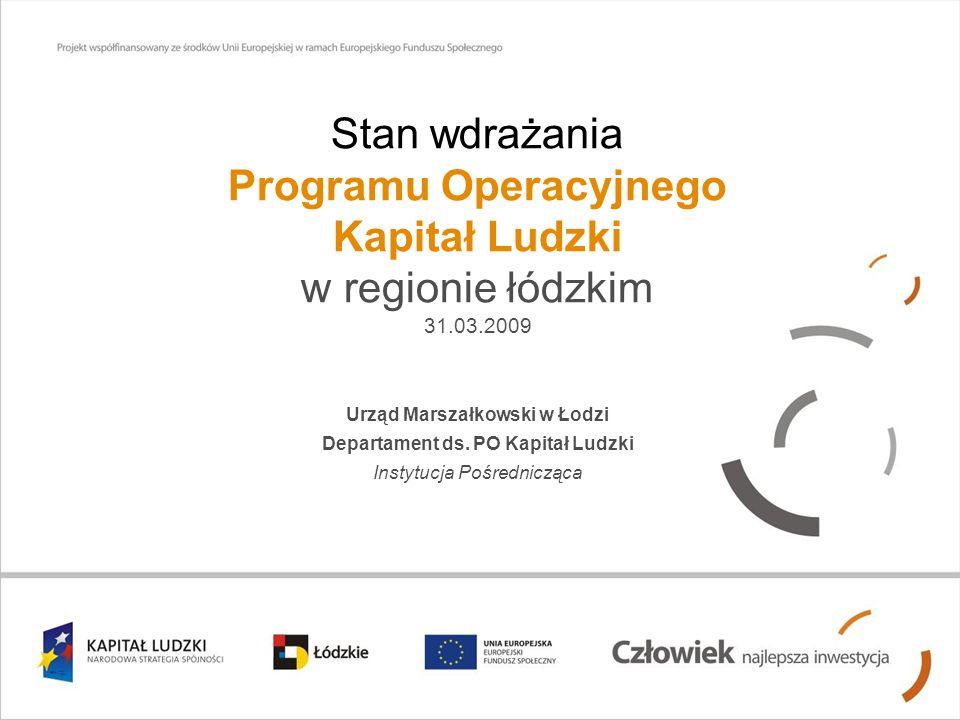 Stan wdrażania Programu Operacyjnego Kapitał Ludzki w regionie łódzkim 31.03.2009 Urząd Marszałkowski w Łodzi Departament ds.
