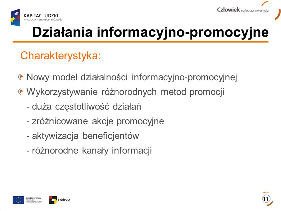 Działania informacyjno-promocyjne Charakterystyka: Nowy model działalności informacyjno-promocyjnej Wykorzystywanie różnorodnych metod promocji - duża częstotliwość działań - zróżnicowane akcje promocyjne - aktywizacja beneficjentów - różnorodne kanały informacji 11