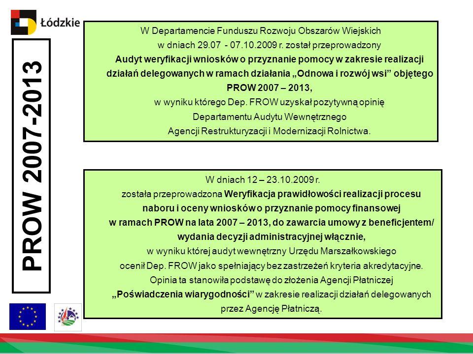 PROW 2007-2013 W Departamencie Funduszu Rozwoju Obszarów Wiejskich w dniach 29.07 - 07.10.2009 r.