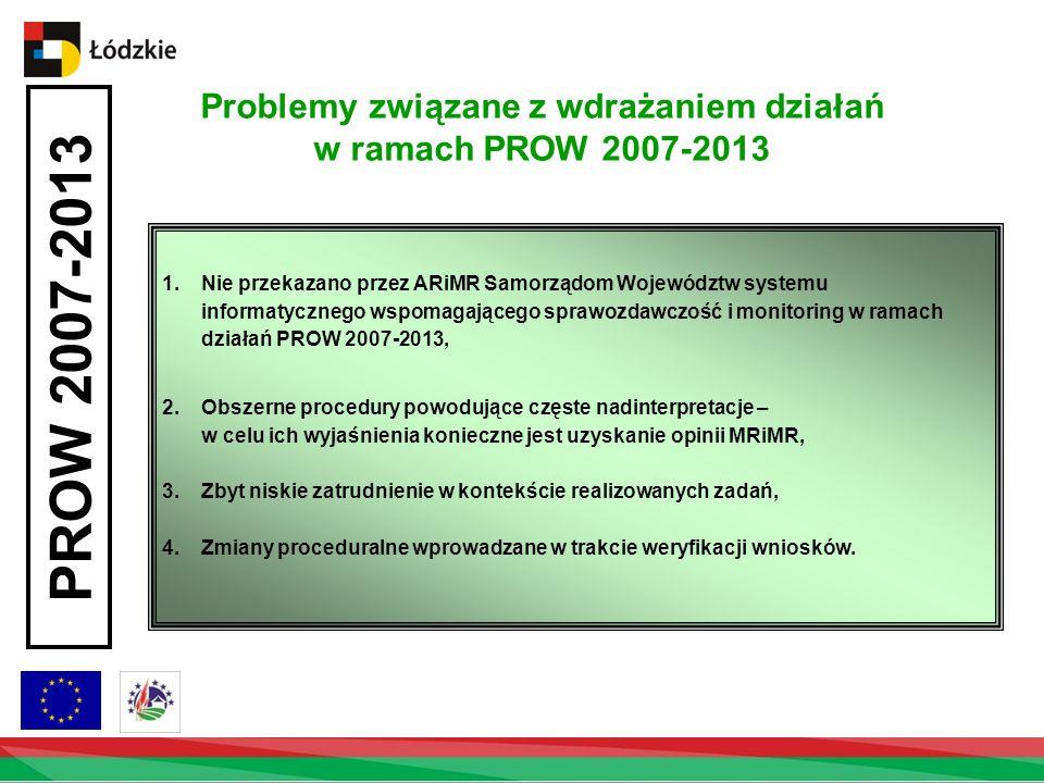 1.Nie przekazano przez ARiMR Samorządom Województw systemu informatycznego wspomagającego sprawozdawczość i monitoring w ramach działań PROW 2007-2013, 2.Obszerne procedury powodujące częste nadinterpretacje – w celu ich wyjaśnienia konieczne jest uzyskanie opinii MRiMR, 3.Zbyt niskie zatrudnienie w kontekście realizowanych zadań, 4.Zmiany proceduralne wprowadzane w trakcie weryfikacji wniosków.