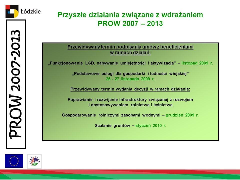 Przyszłe działania związane z wdrażaniem PROW 2007 – 2013 PROW 2007-2013 Przewidywany termin podpisania umów z beneficjentami w ramach działań: Funkcjonowanie LGD, nabywanie umiejętności i aktywizacja – listopad 2009 r.