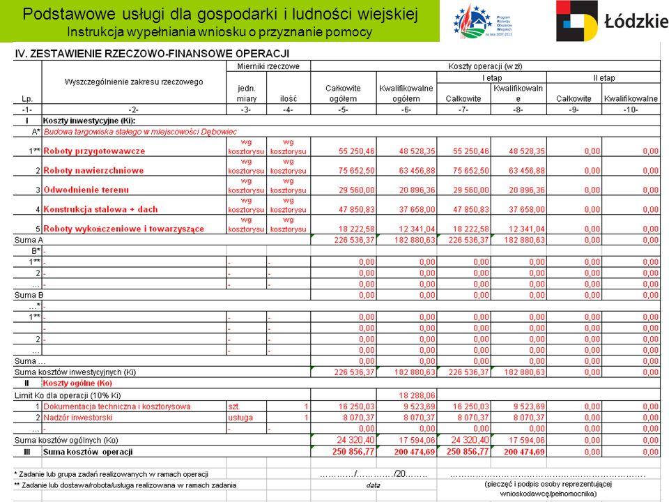 Podstawowe usługi dla gospodarki i ludności wiejskiej Instrukcja wypełniania wniosku o przyznanie pomocy