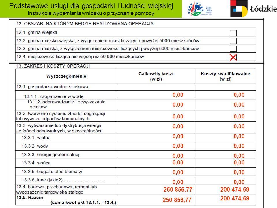 Podstawowe usługi dla gospodarki i ludności wiejskiej Instrukcja wypełniania wniosku o przyznanie pomocy 0,00 250 856,77 200 474,69