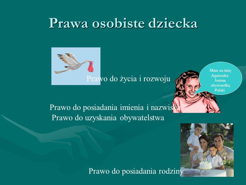 Prawa osobiste dziecka Prawo do uzyskania obywatelstwa Prawo do posiadania rodziny Prawo do życia i rozwoju Mam na imię Agnieszka. Jestem obywatelką P